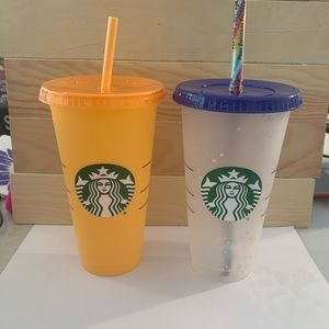 Color changing Starbucks Cup and 1 Confetti Cup